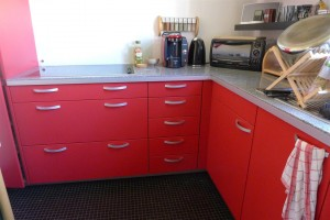 13 red cabinets