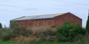 Photovoltaic panels installed on barn