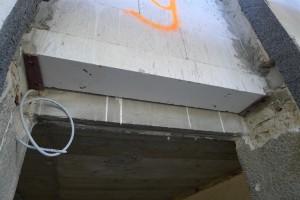 masonry lintel above door opening