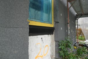 membrane and black goop seal around windows