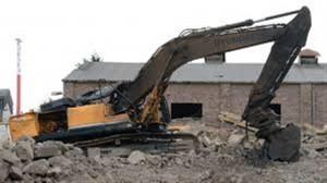 bombed excavator