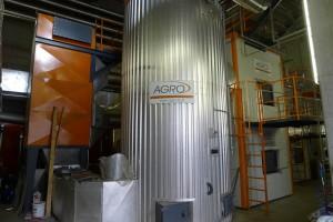 multi-cyclone filter (orange), heat exchanger, 5 MW boiler